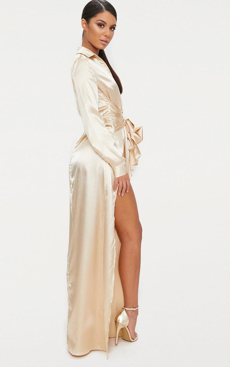 Champagne Satin Extreme Split Waist Tie Shirt Maxi Dress  2