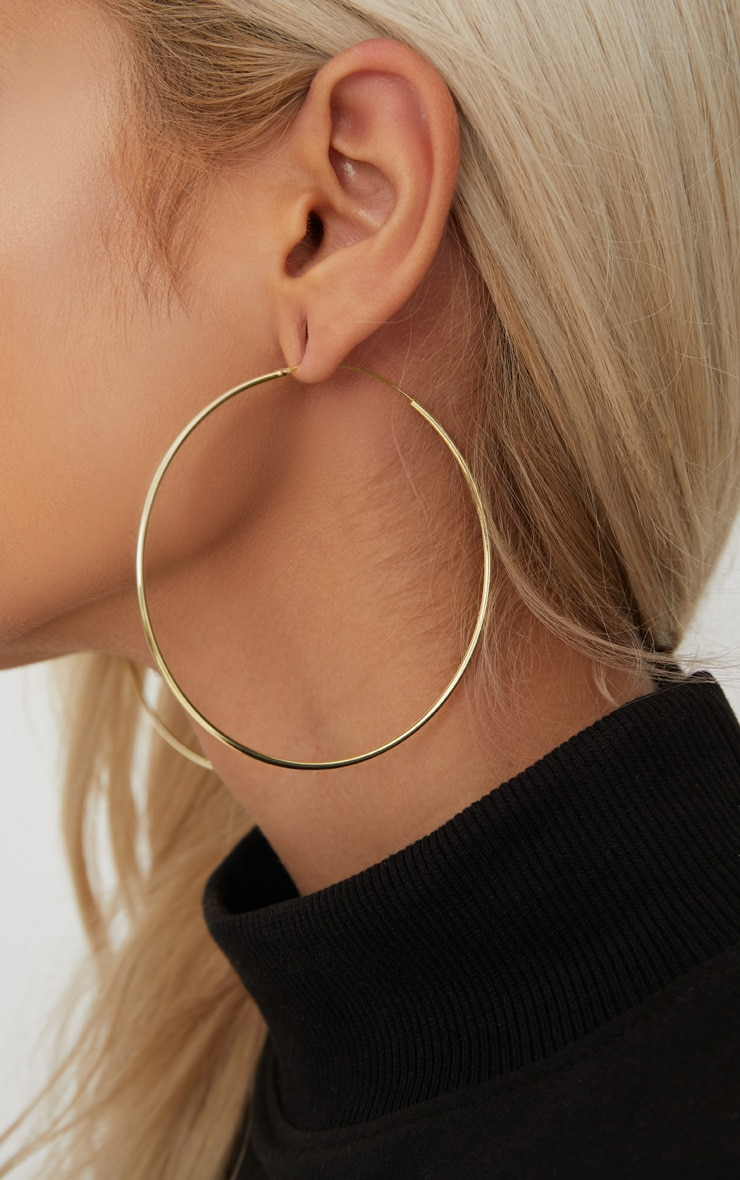 Gold Plated Sterling Silver 70mm Large Hoop Earrings 3