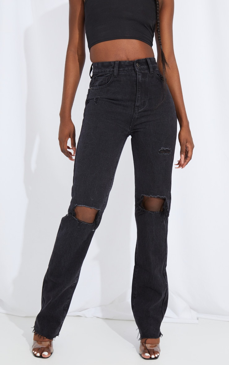 Tall Black Extra Long Distressed Straight Leg Jean 2