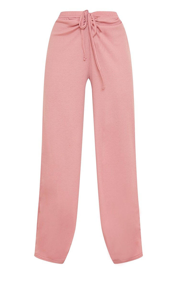 Blush Ribbed Ruched Tie Waist Wide Leg Trousers 5