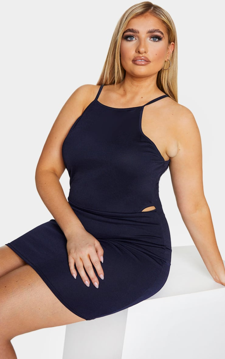 Plus Navy High Neck Cut Out Bodycon Dress 4