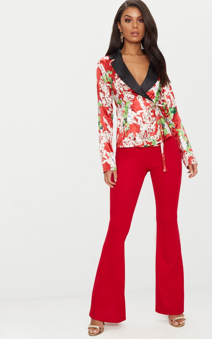 Red Floral Satin Lapel Blouse  4