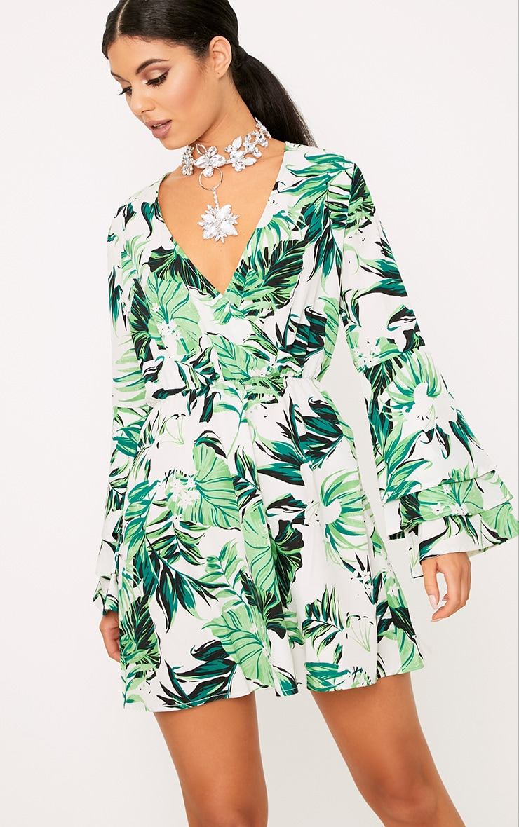 Green Leaf Printed Shift Dress 1