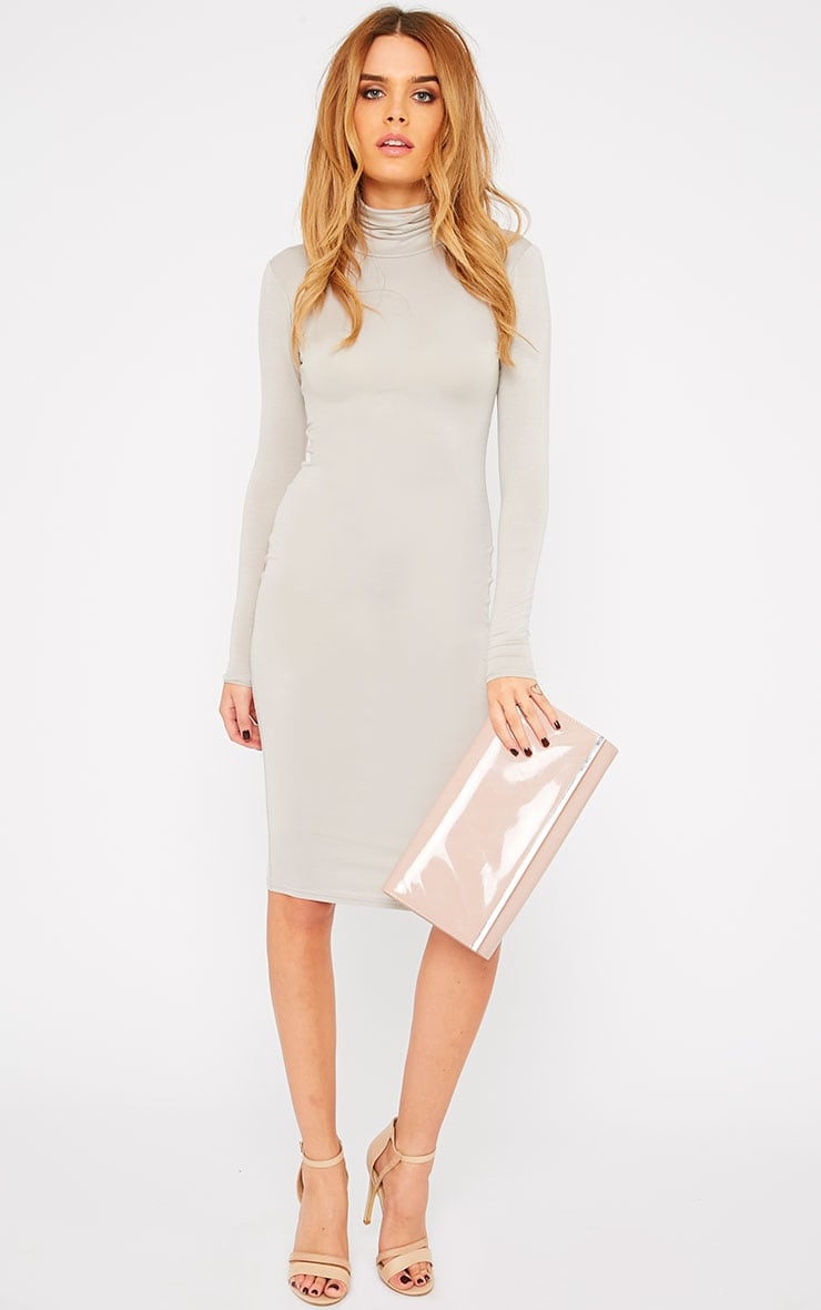 Basic Stone Roll Neck Midi Dress 1