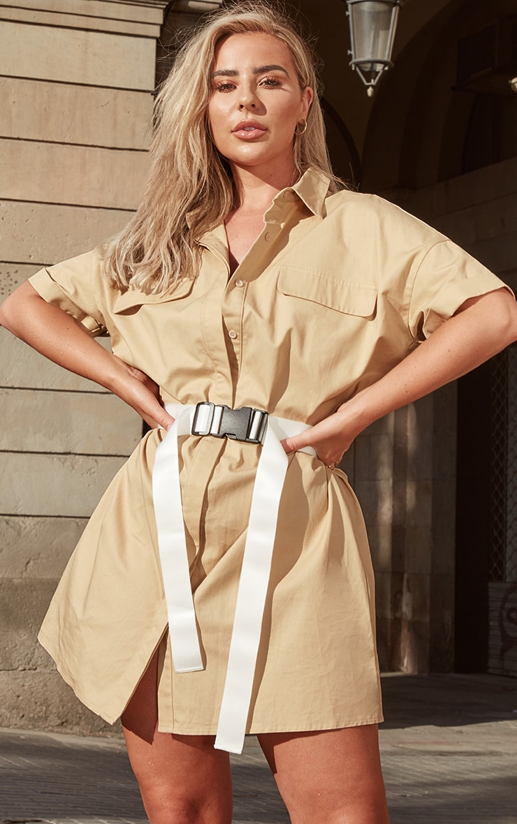 Stone Oversized Utility Shirt Dress 4