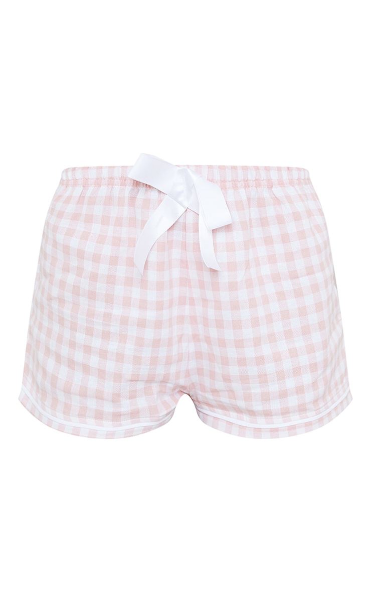 Pale Pink Mix And Match Tie Waist Check PJ Shorts 6