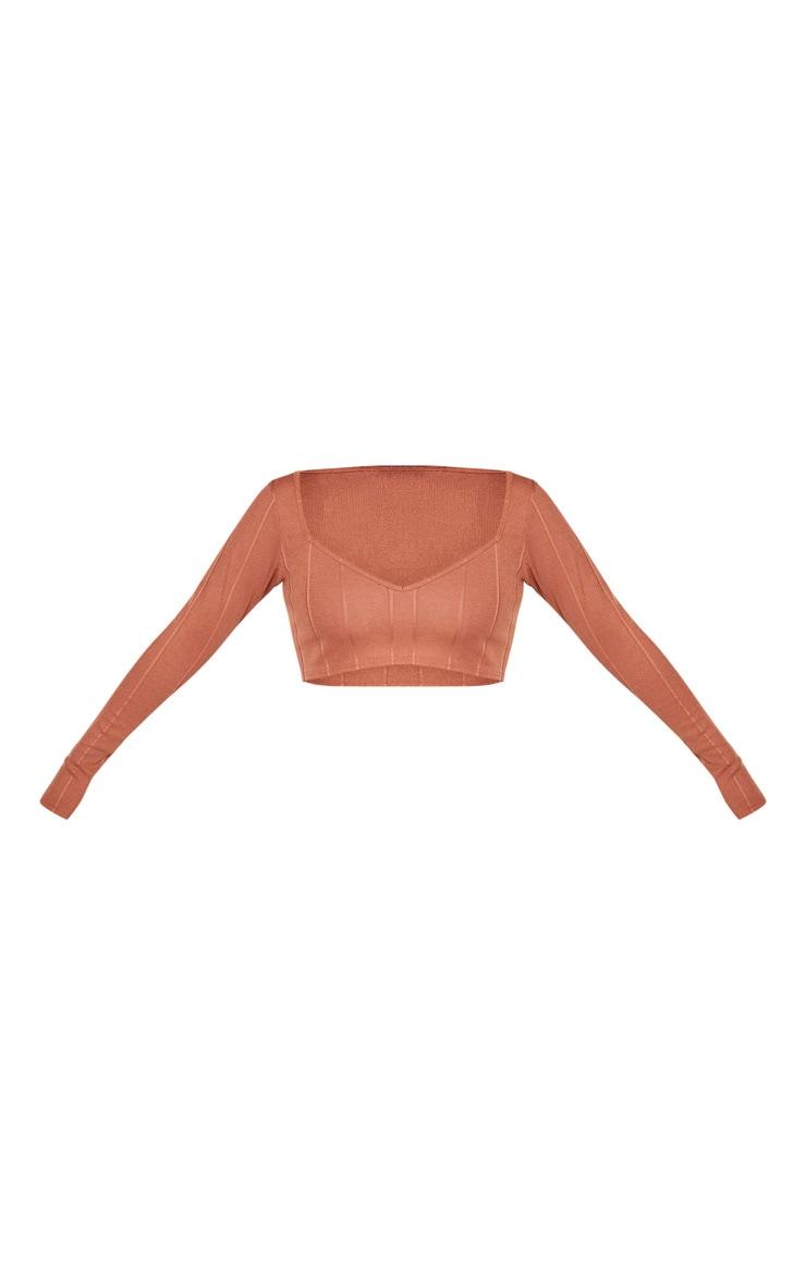 Shape Mocha Bandage Long Sleeve V Neck Crop Top 3