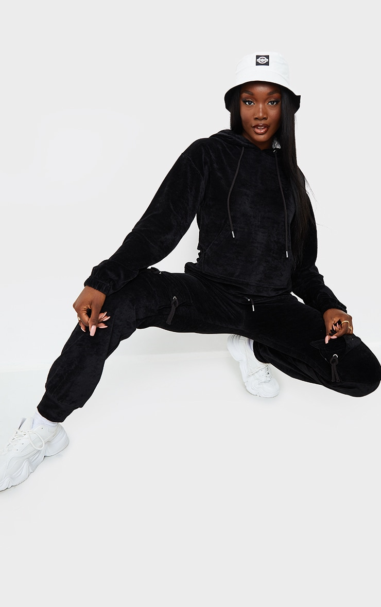 Tall Black Velour Cropped Hoodie 3