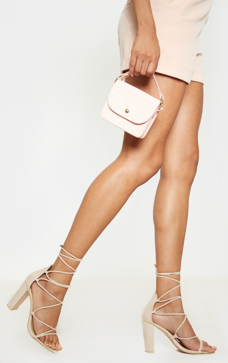 Nude Block Heel Ghillie Tie Up Sandal 1
