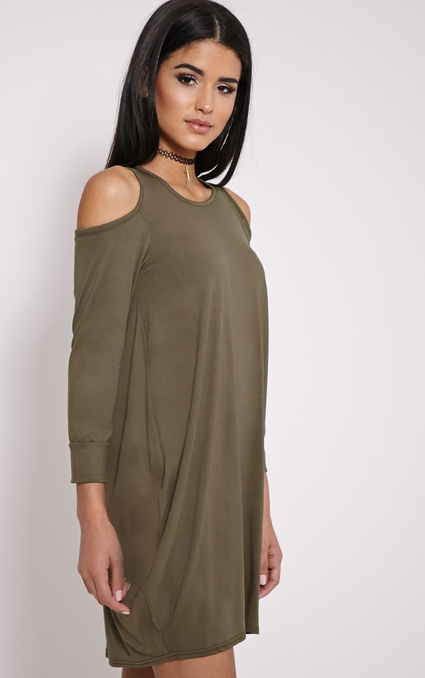 Bronywn Khaki Cut Out Shoulder Dress 4