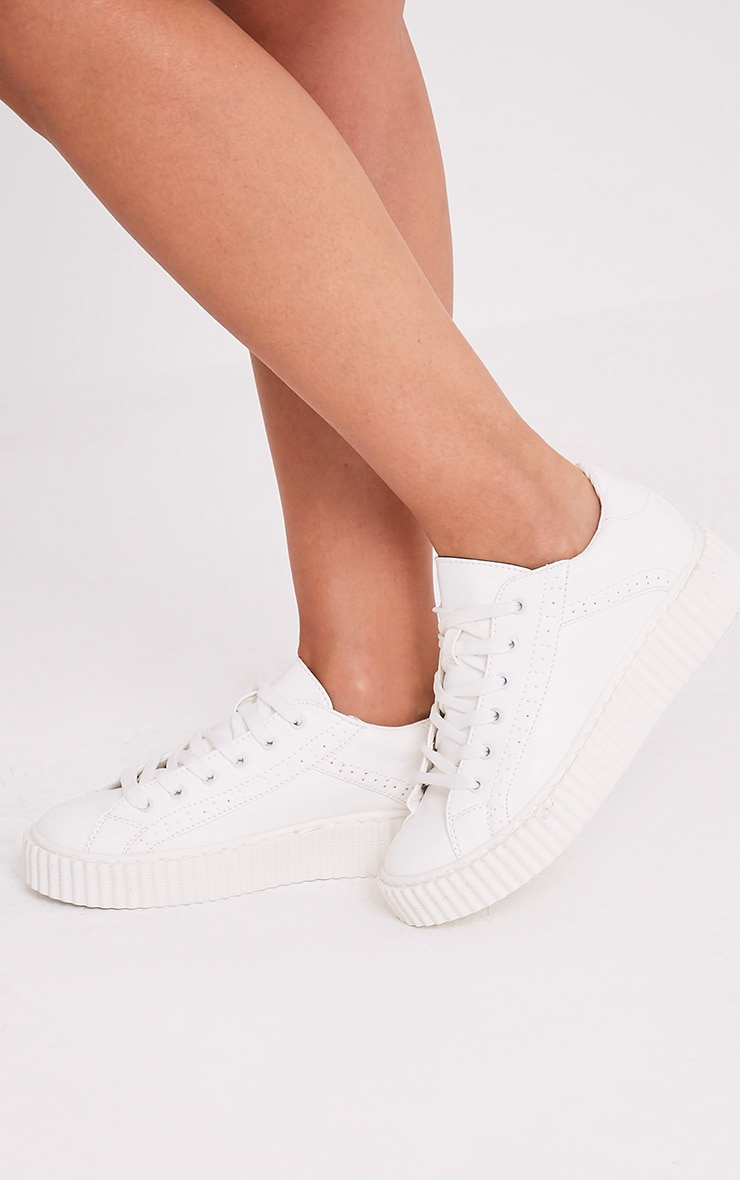 Lorena White PU Creeper Trainers 2