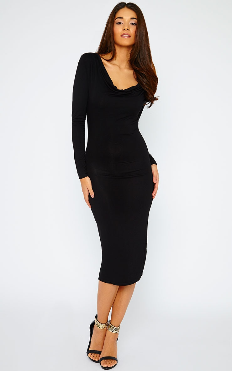 Lise Black Jersey Cowl Neck Midi Dress  1