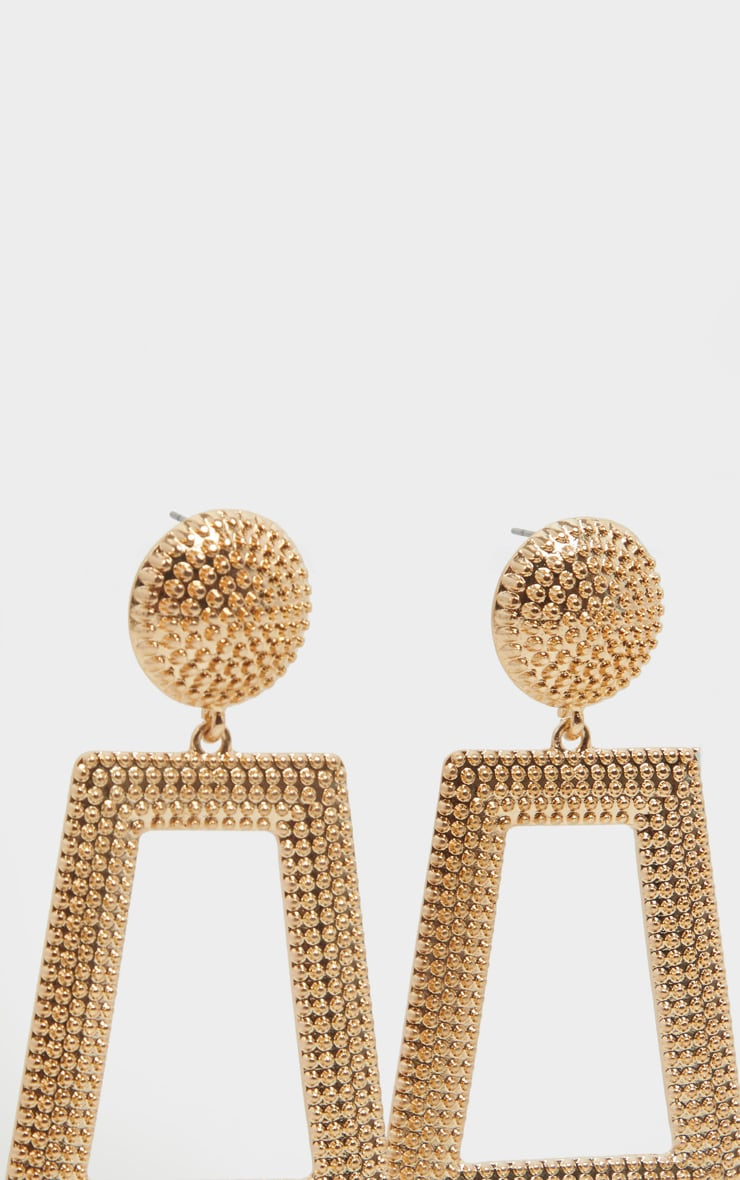 Gold Circle Stud Textured Door Knocker Earring 3