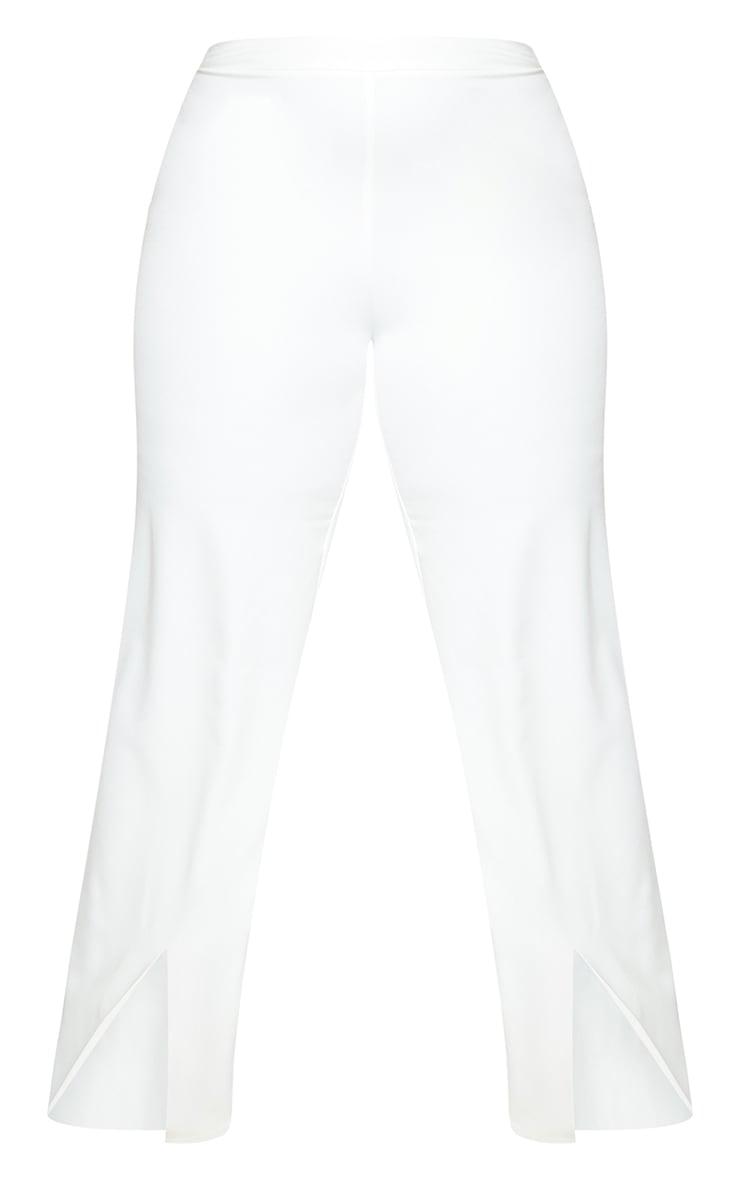 Plus White Split Hem Pants 5