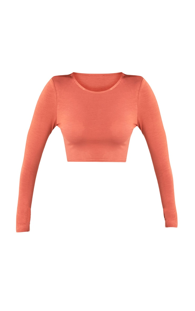 Ali Deep Peach Jersey Longsleeve Crop Top 3