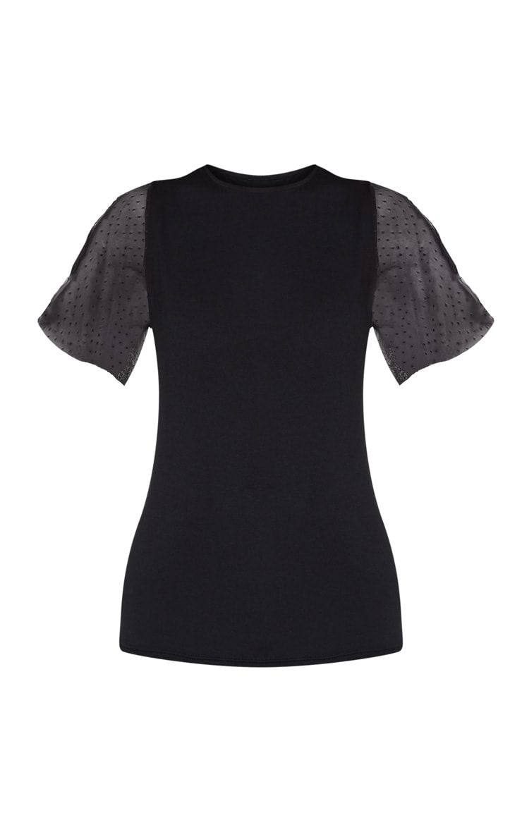Black Dobby Mesh Sleeve Short Sleeve T Shirt 3