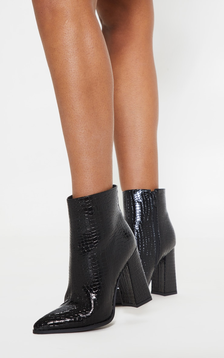 Black Croc Point Ankle Boot 1