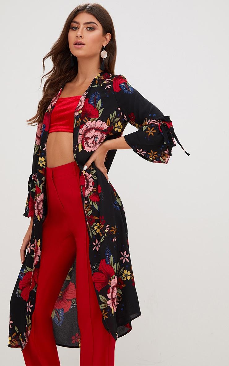 Black Floral Tie Sleeve Kimono Jacket 1