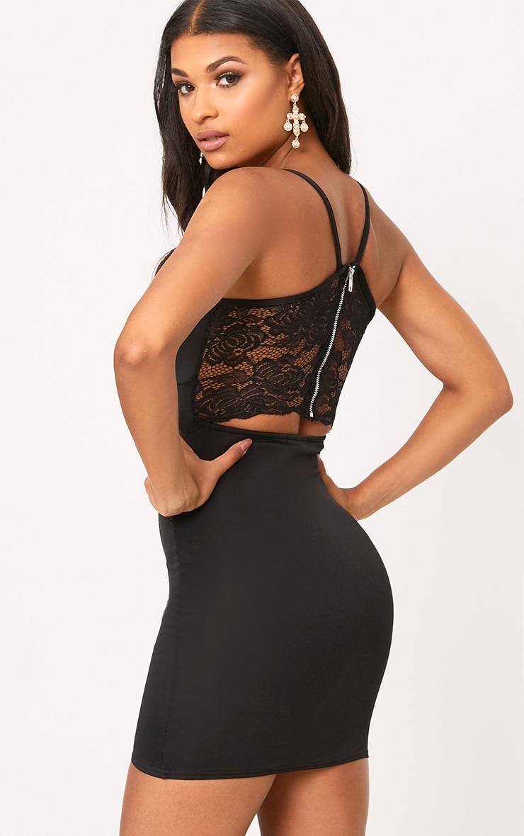 Ada Black Zip Detail Lace Panel Bodycon Dress  2