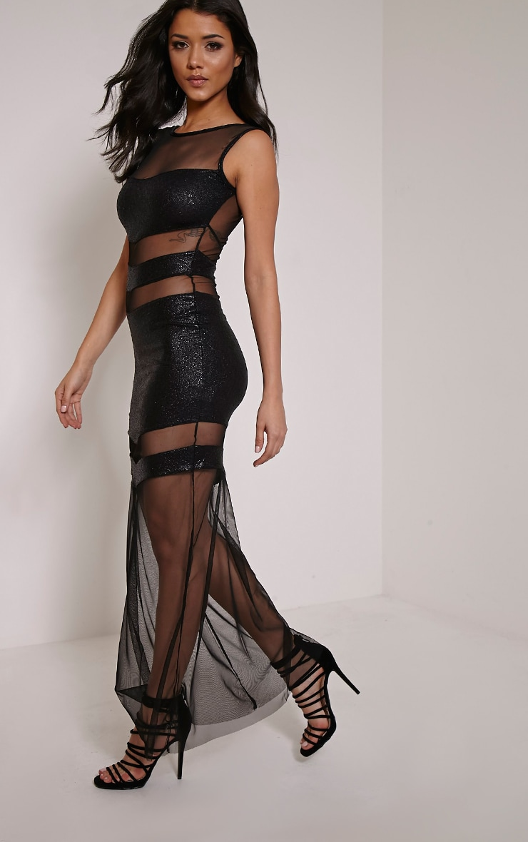 Tai Black Glitter Mesh Panel Maxi Dress 3