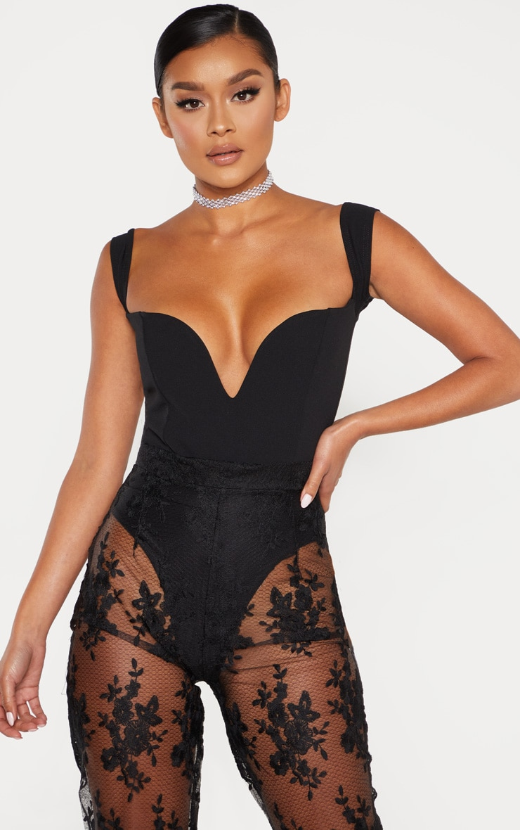 Black V Bar Bardot Bodysuit 1