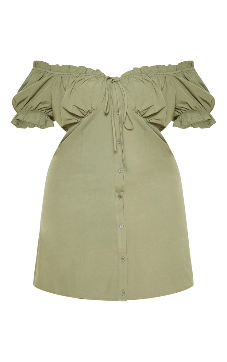 Plus Khaki Bardot Button Front Shift Dress  3