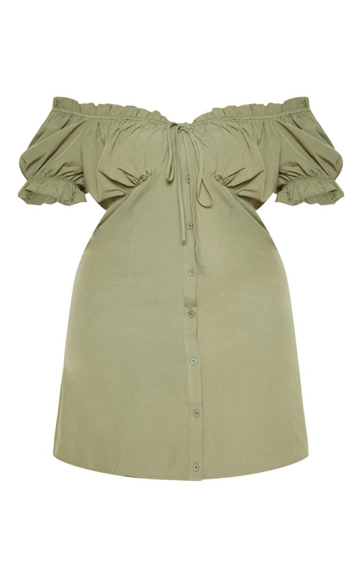 Plus Khaki Bardot Button Front Shift Dress 3