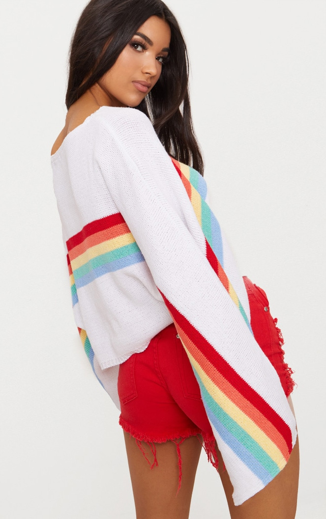 White Rainbow Wide Sleeve Jumper 2