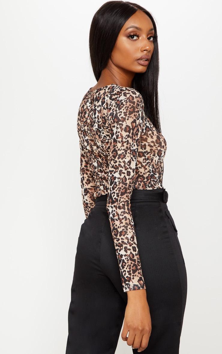 Brown Mesh Leopard Print Long Sleeve Top 2