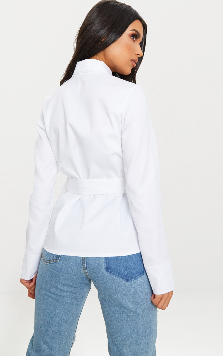 White Military Buckle Pocket Detail Shirt 2