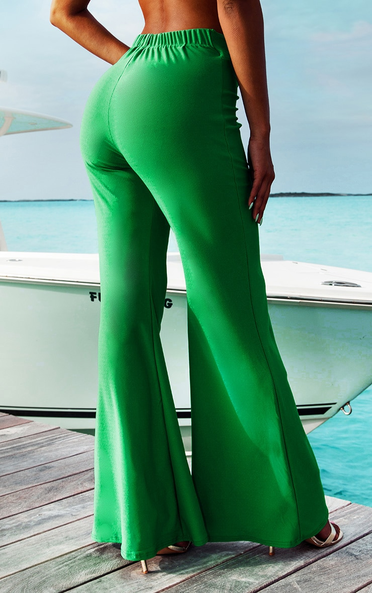 Green Knot Front Flared Pants 4