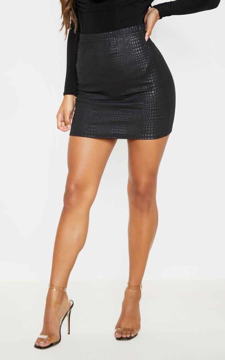 Black Croc Print Bodycon Mini Skirt  2