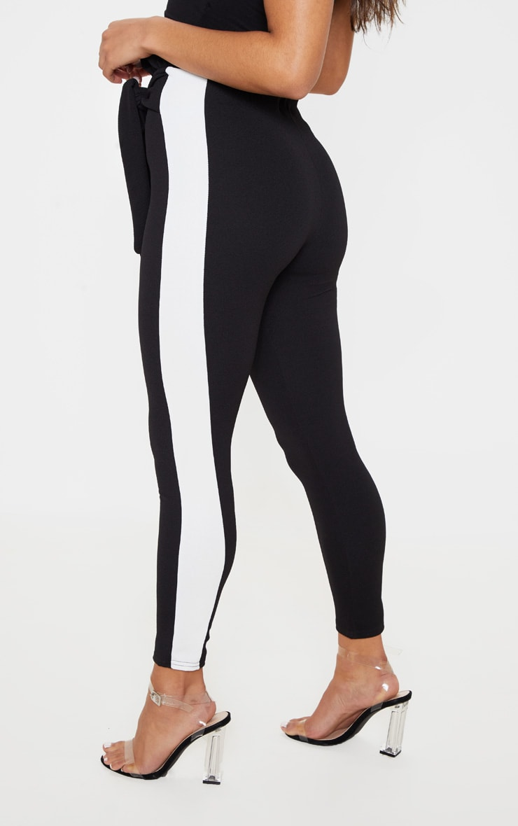 Black Side Stripe Paperbag Skinny Trousers 4