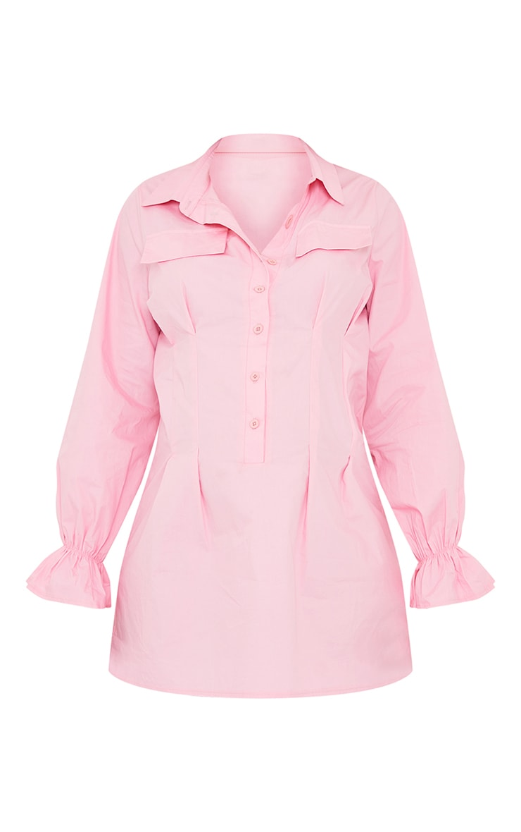 Maternity Pink Utility Shirt Dress 5