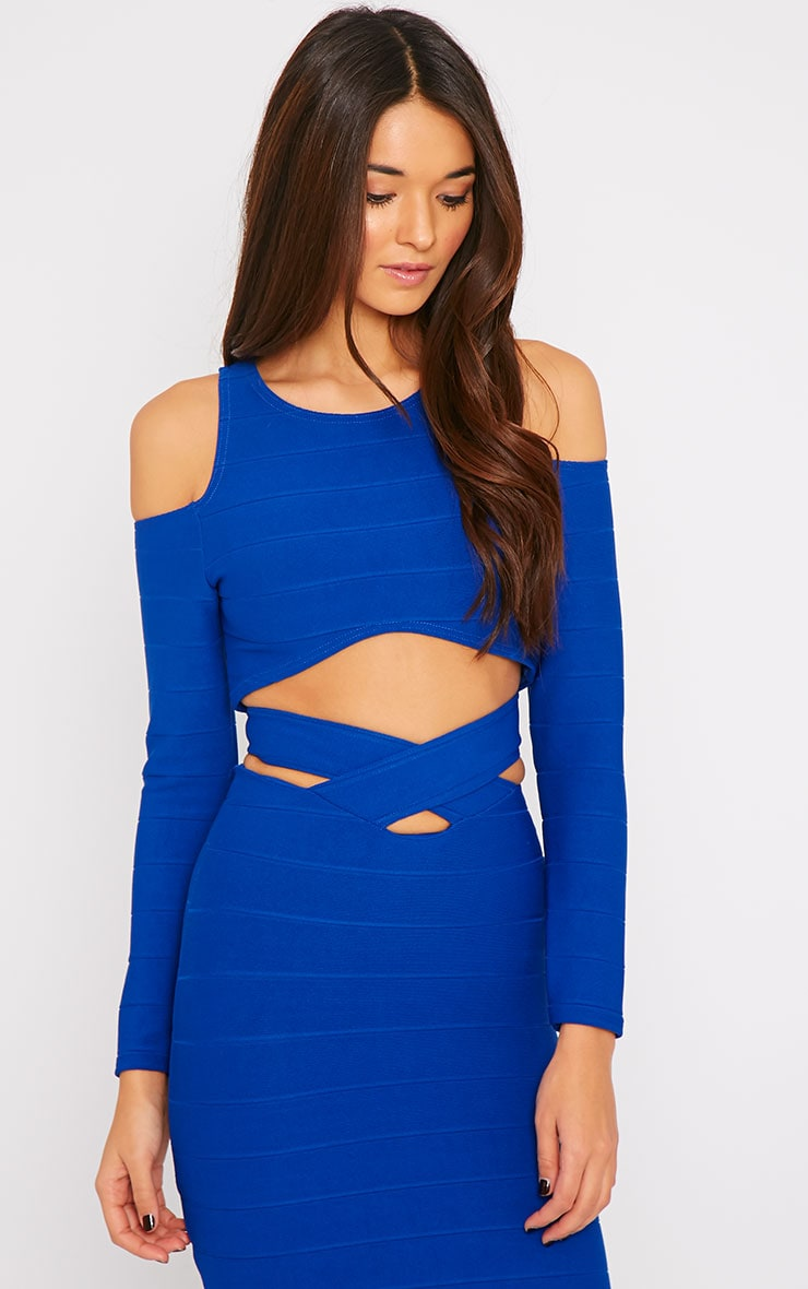 Jaimie Cobalt Cut Out Curved Hem Bandage Crop Top  1