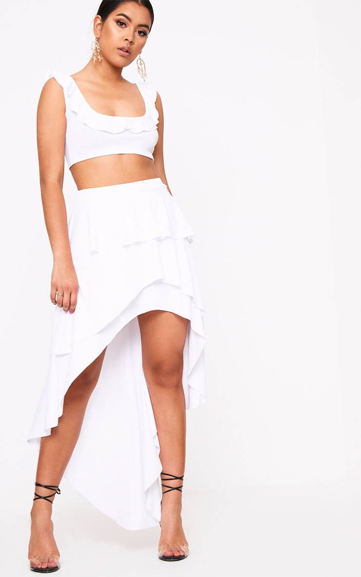 White Frill Low Scoop Crop Top 3