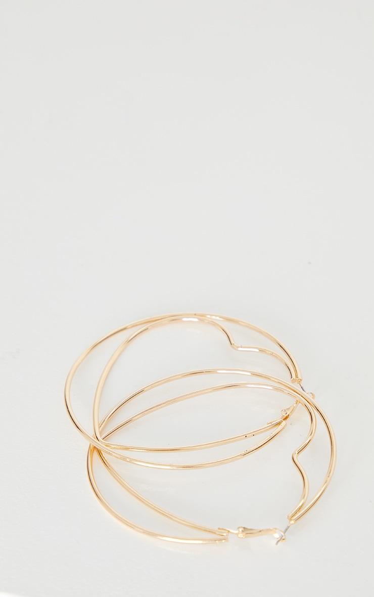 Gold Oversized Heart Circular Hoop Earrings 3