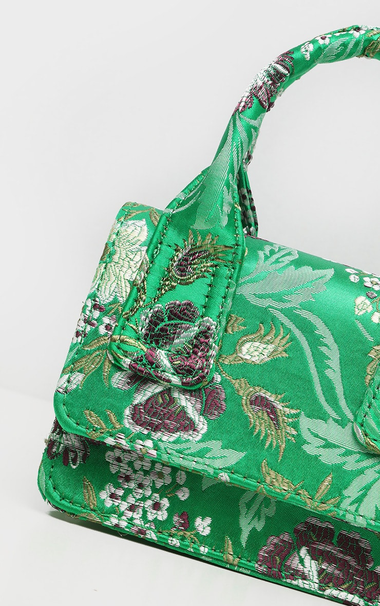 Green Jacquard Mini Square Handle Bag 5
