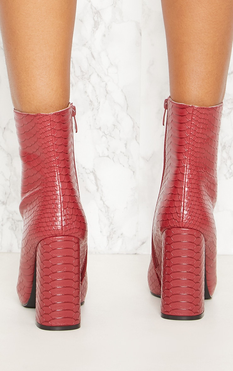 Red Faux Snake Ankle Boot 3