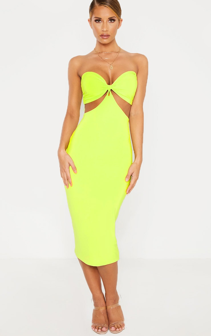 Lime Slinky Bust Detail Cut Out Midi Dress 1