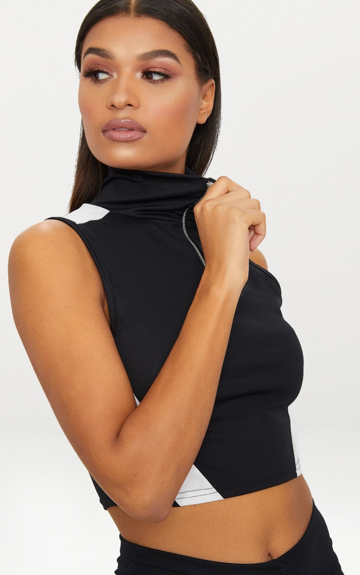 Black Contrast Panel Zip Up Crop Top 5
