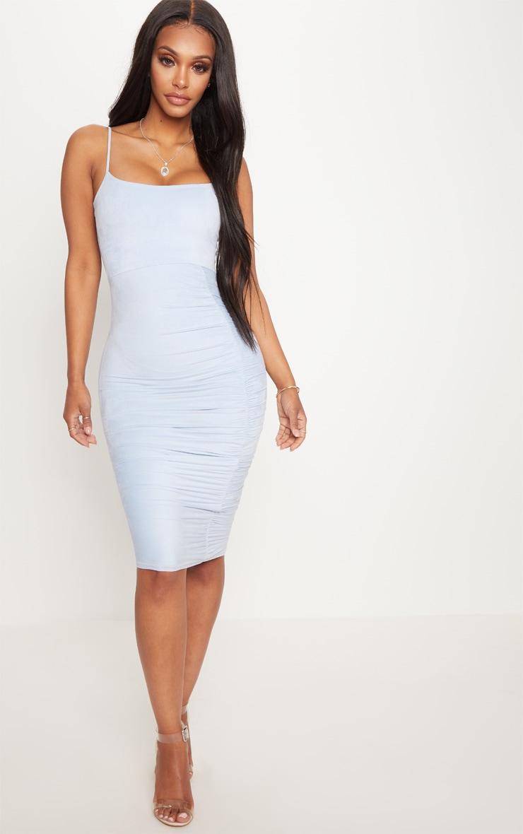 Shape Dusty Blue Faux Suede Ruched Midi Dress 4