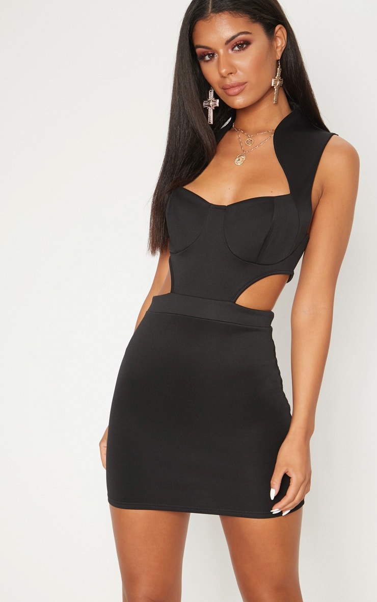 Black Collar Detail Cut Detail Bodycon Dress 1