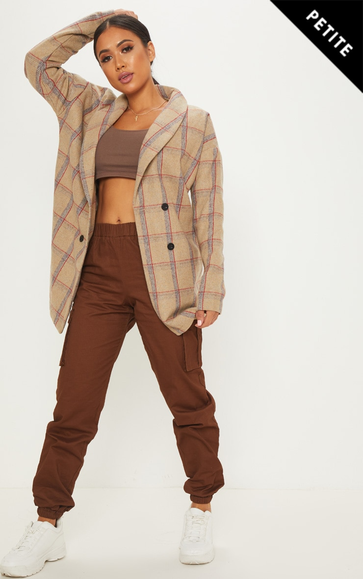 Petite Nude Check Oversized Coat