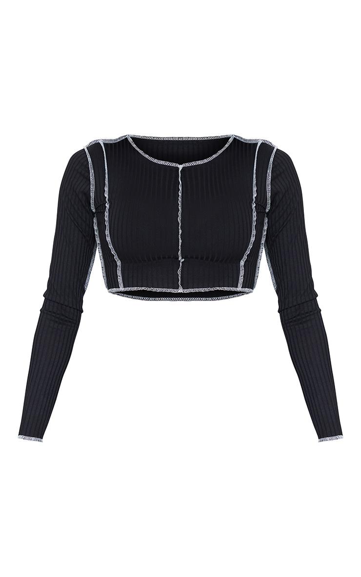 Crop top manches longues côtelé noir à coutures contrastantes 5