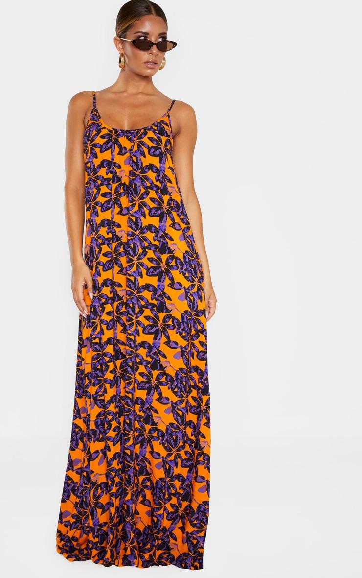 Orange Shadow Leaf Low Back Oversized Maxi Beach Dress 4