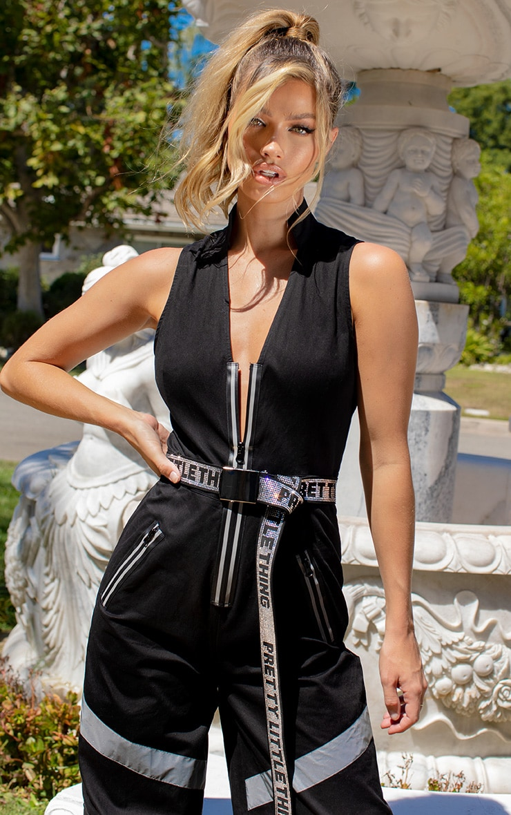 Black Contrast Panel Wide Leg Cargo Jumpsuit