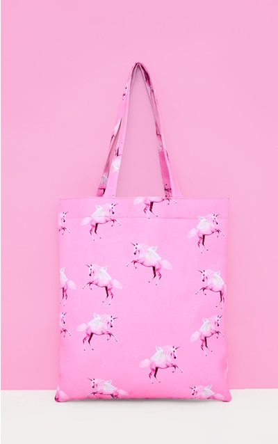 6d30868122 PRETTYLITTLETHING Unicorn Pink Canvas Tote