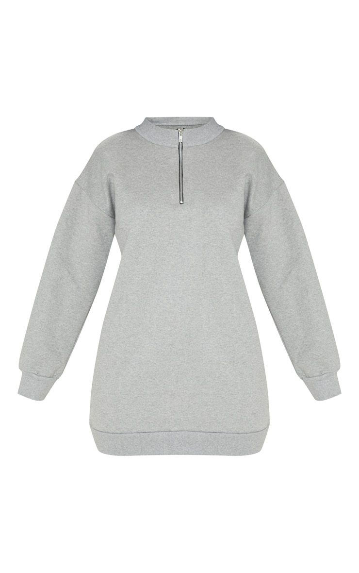 Grey Zip High Neck Jumper Dress 3