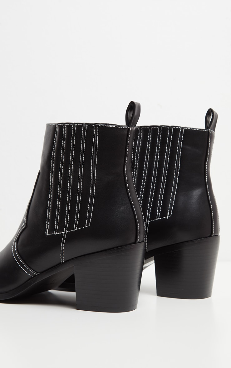Black Contrast Stitch Square Toe Western Boot 4